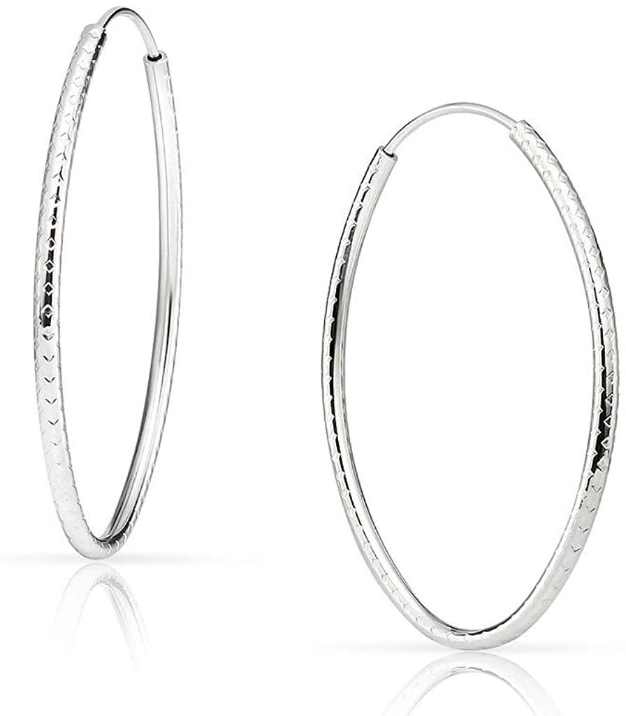SOLIDSILVER - Sterling Silver Round or Oval 10-60mm Diamond Cut Shape Endless Infinity Hoop Earrings