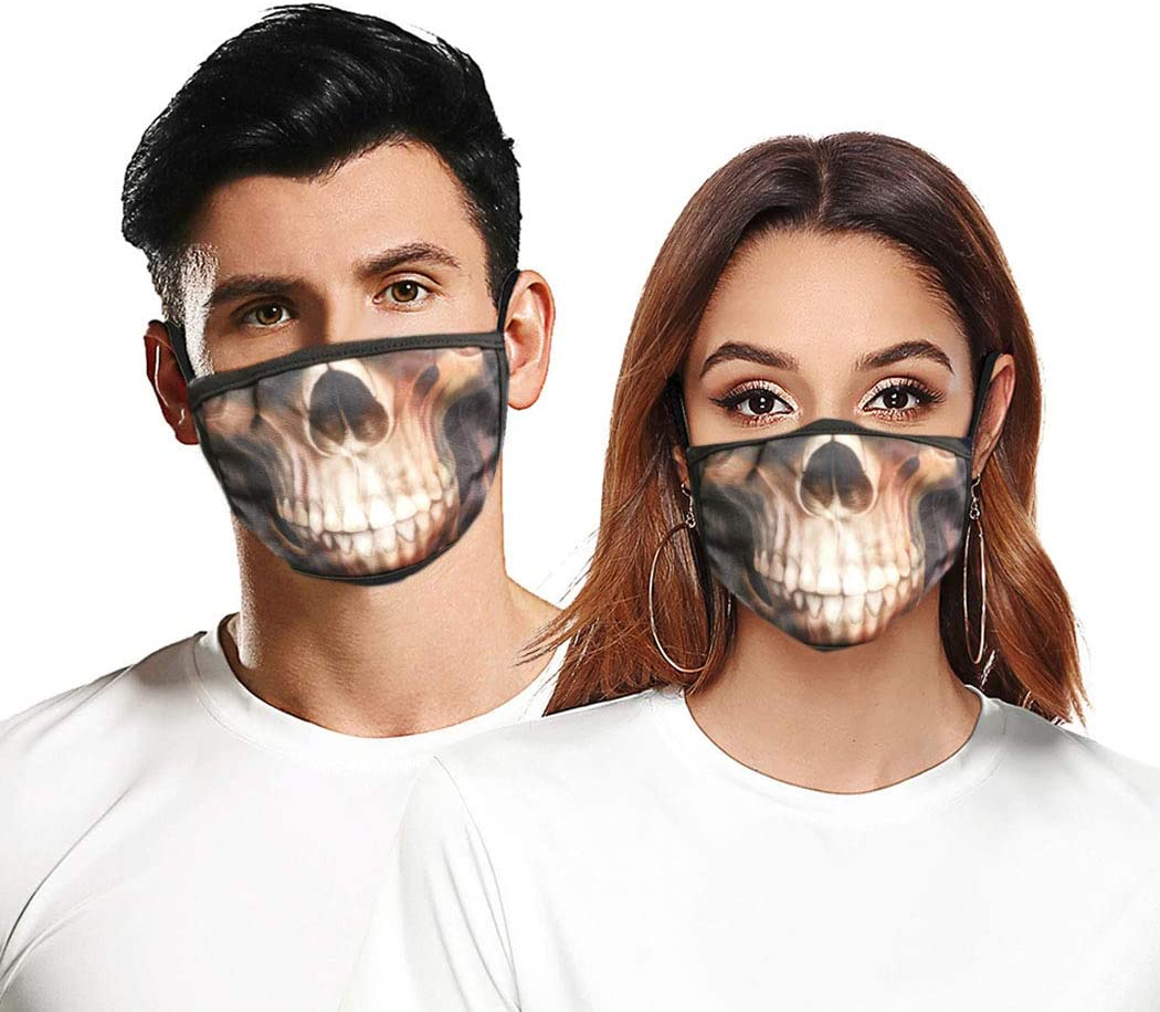 Bohend Skull Face Covering Washable Reusable Cloth Dust Covering Bandana Balaclavas Mouth Covering for Women and Men