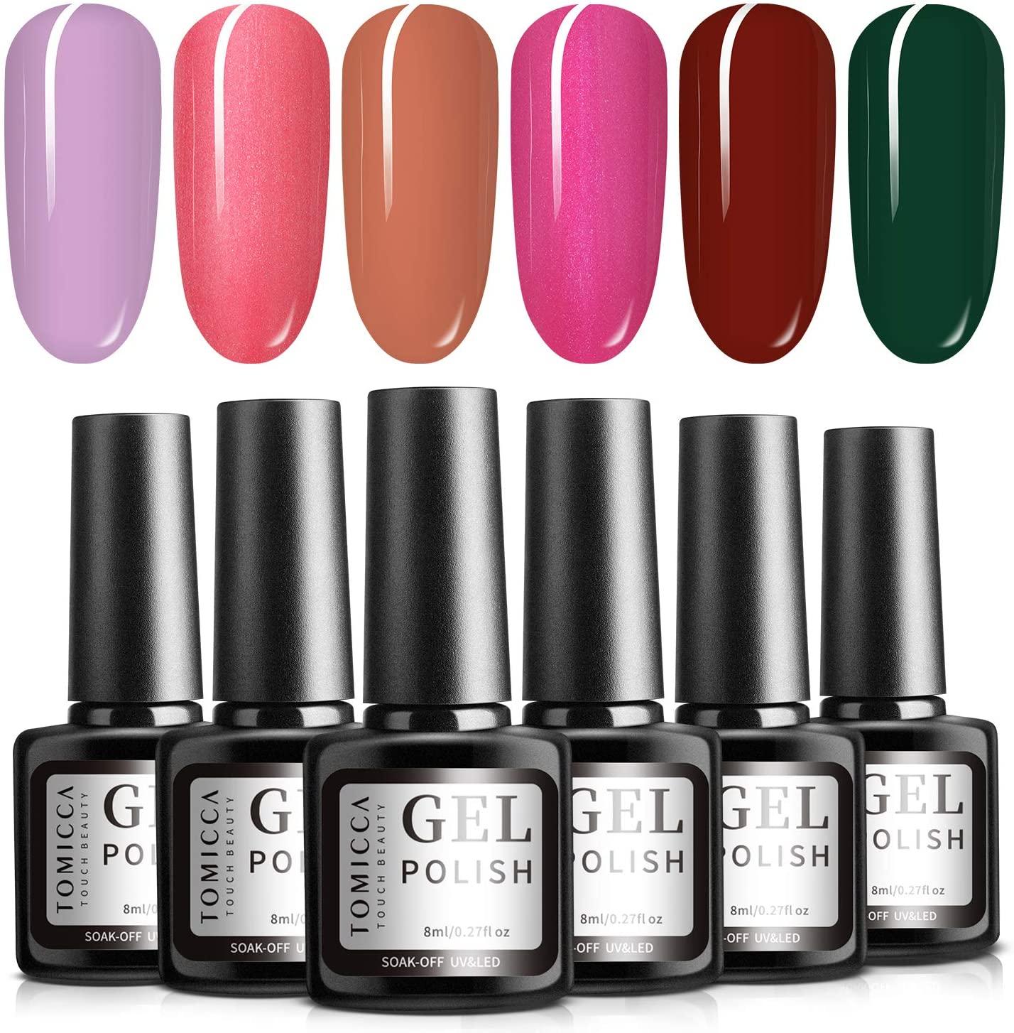 TOMICCA Gel Nail Polish Set, Pink Red Green, 6 Fall Autumn Color Gel, Soak Off Gel Polish Starter Kit, UV LED Gel Manicure for Home & Salon, No Chip, Non Toxic - 6 × 8ml