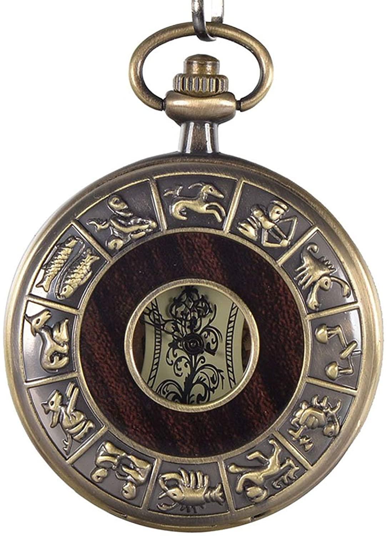 Hofun Vintage Bronze Wood Steampunk Mechanical Skeleton Pocket Watch Chain Gifts