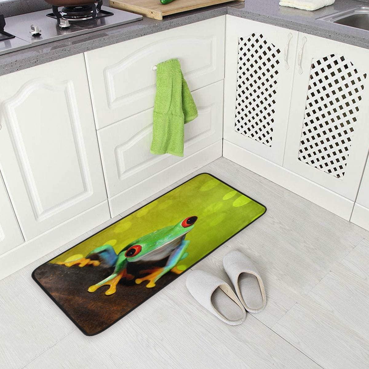 ALAZA Red Eye Tree Frog Non Slip Kitchen Floor Mat Kitchen Rug for Entryway Hallway Bathroom Living Room Bedroom 39 x 20 inches(1.7' x 3.3')