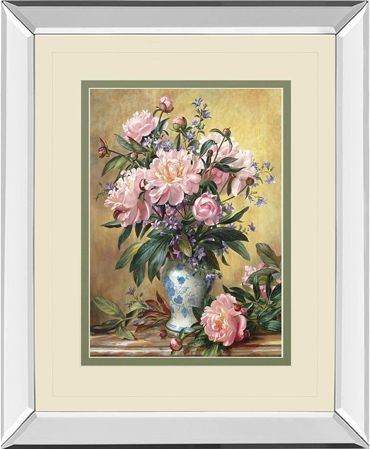 Pink, Green, and Yellow Vase of Peonies and Canterbury Bells Mirror Framed Print Wall Art 40