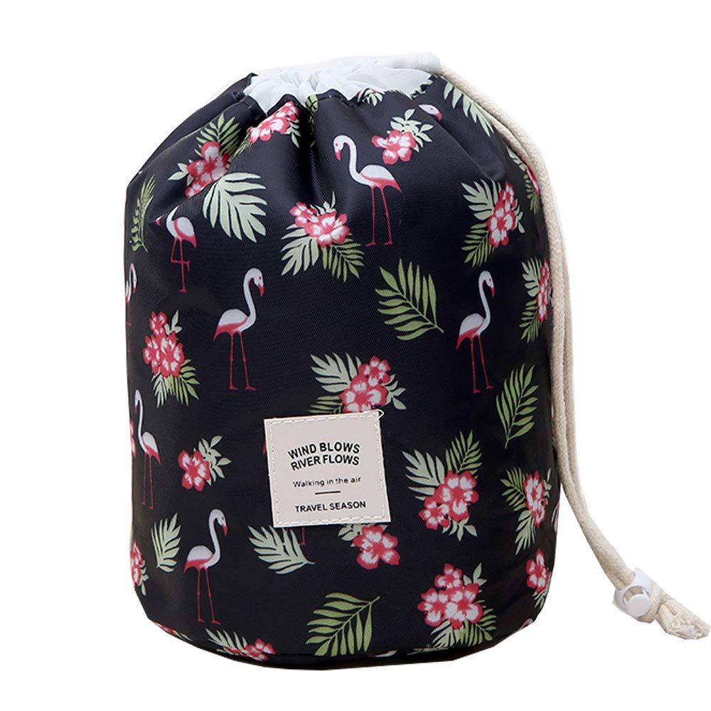 Makeup Bag, YJQueen Travel Makeup Cosmetic Pouch Portable Handbag Toiletry Case Mini Makeup Train Case Cosmetic Bag Cosmetic Organizer Travel Accessories (Black Flamingo)