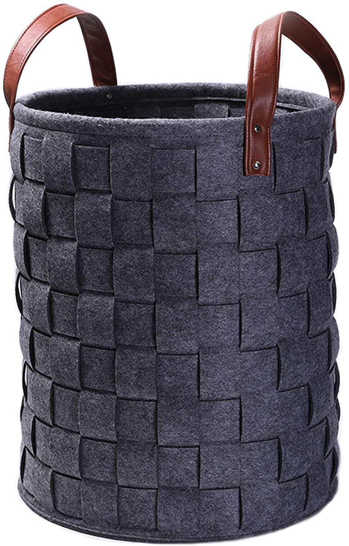 Storage Baskets Felt Organizer Storage Bin Laundry Basket Woven With Durable Handles (19.7''X15.7'') (Dark Gray)