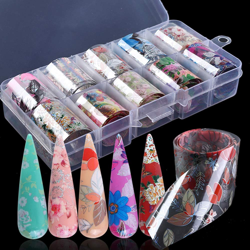 Nail Foil Transfer Stickers Nail Art Supplies Nail Foils Transfer 10 Rolls Flowers Nail Art Stickers Starry Sky Nail Decals Adhesive Manicure Tips Nail Foil Wraps for Women Fingernails Toenails