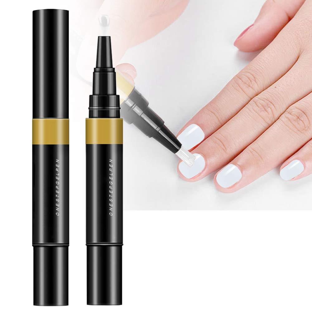 5ML 3 In 1 Nail Gel Nail Polish, Nail Lacquer, Nail Colour Nail Art Gel Polish Pen Long Lasting Nail Soak off Gel Manicure Tool(01)