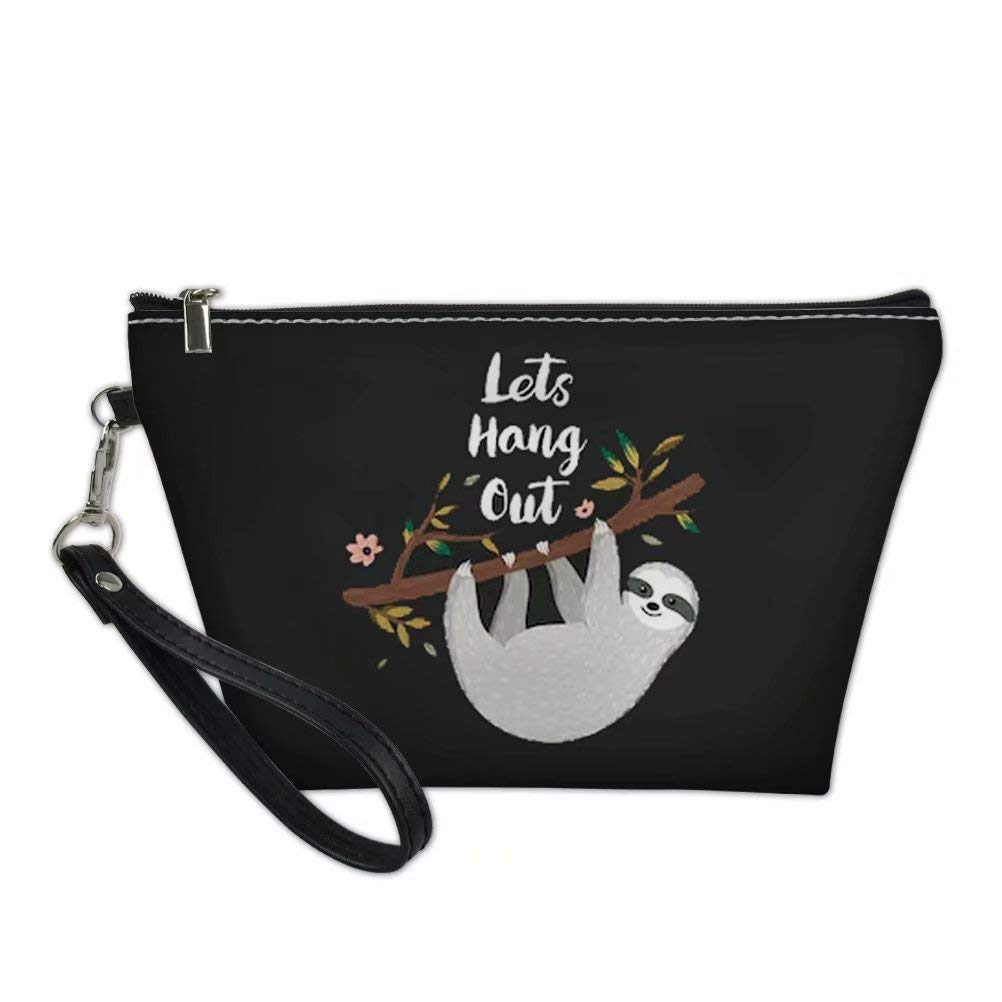 Dellukee Sloth Print Leather Makeup Bag Purse For Women Cute Roomy Waterproof Toiletry Pouch Travel Cosmetic Bags