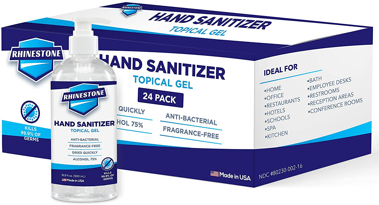 RHINESTONE Gel Hand Sanitizer   Advanced No-Rinse Gel   75% Alcohol   Made in USA   24 Pack of 16.9 Fl Oz Bottles with Pumps