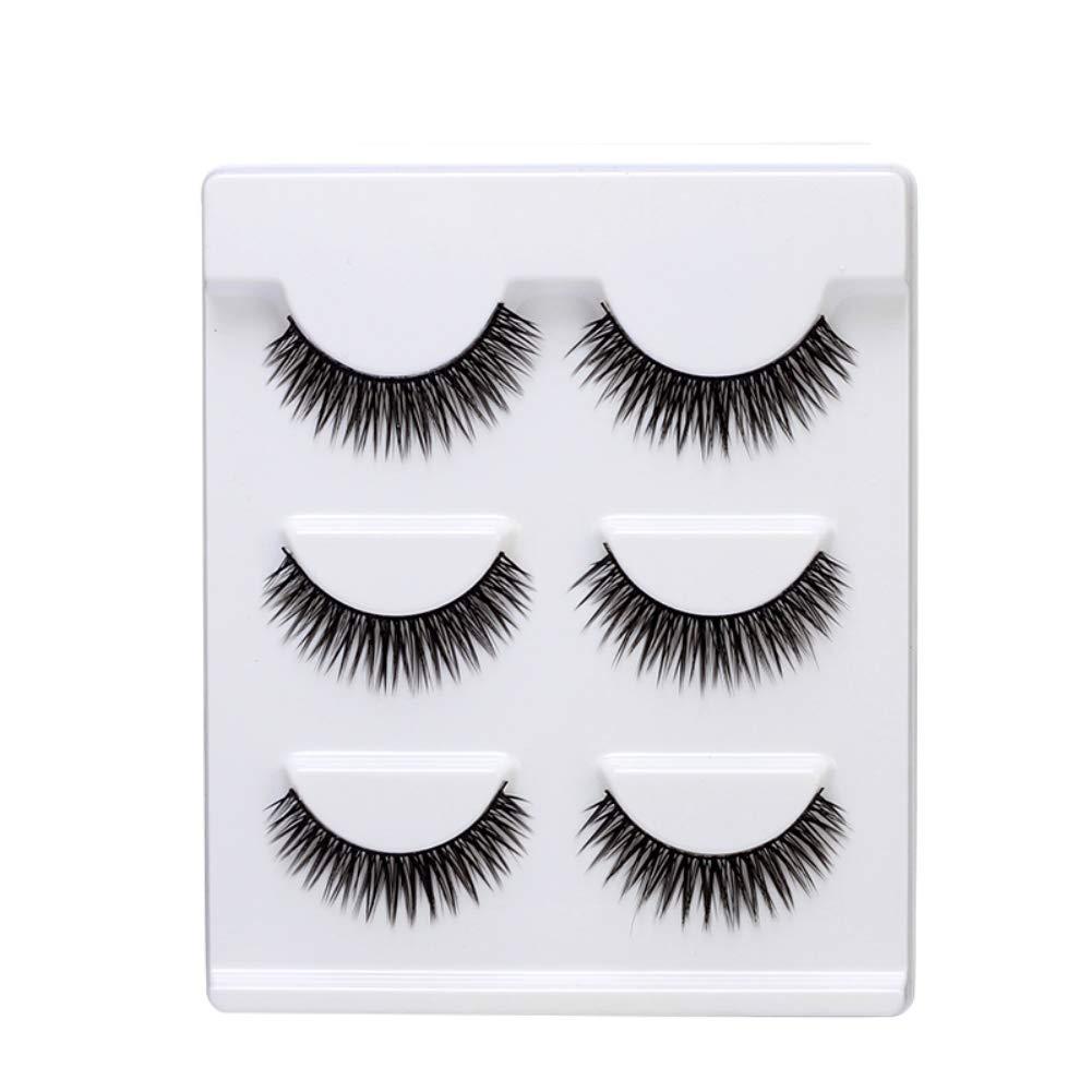 Pretty Comy False Lashes 3 Pairs Handmade Winged Eyelashes Makeup Long Thick False Eyelashes