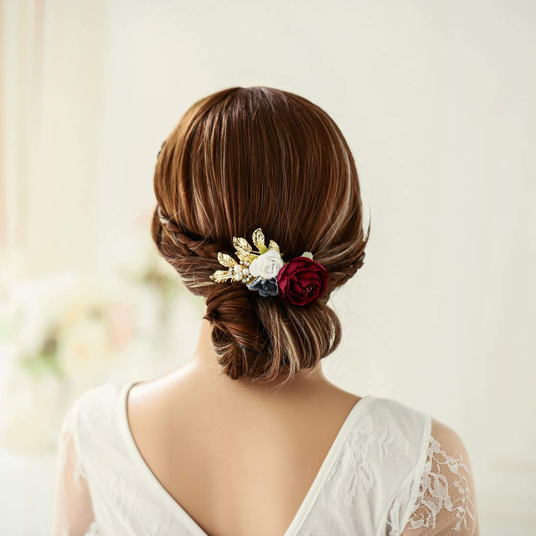 Unicra Bride Wedding Rose Flower Hair Combs Bridal Headpieces Wedding Hair Accessories for Women and Girls