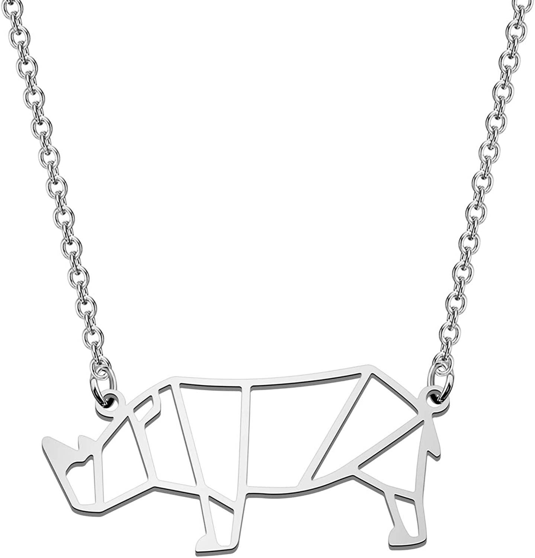 POTIY Hollow Rhinoceros Necklace Rhinoceros Geometric Animal Ornament Minimalist Necklace Animal Pendant Necklace