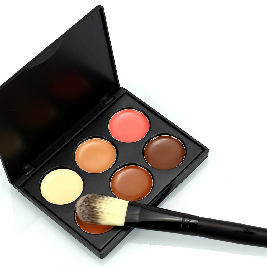 FantasyDay Professional 6 Colors Contour Kit Highlighting Face Cream Concealer Camouflage Makeup Palette + 1 Piece Concealer Makeup Brush Set Make Up Tools #1
