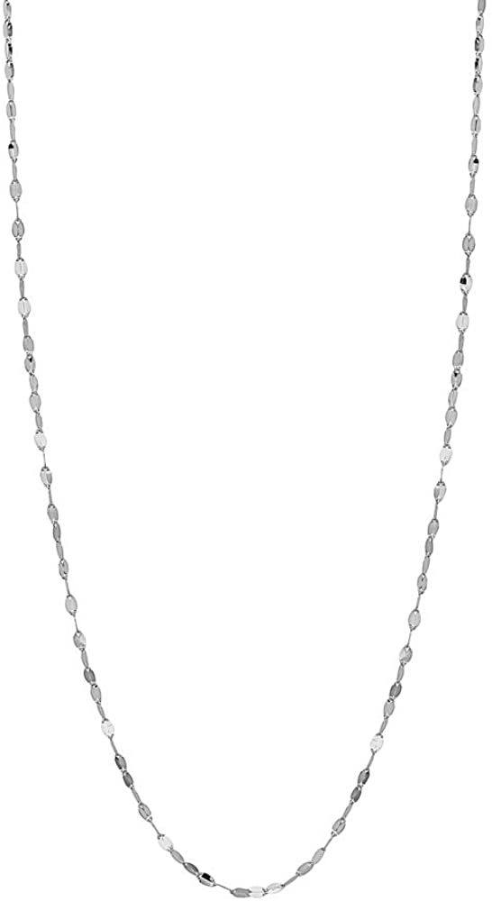 14K Solid Gold 2.0MM Diamond Cut Mirror Chain Necklace -Choose Your Color - Unisex Sizes 16