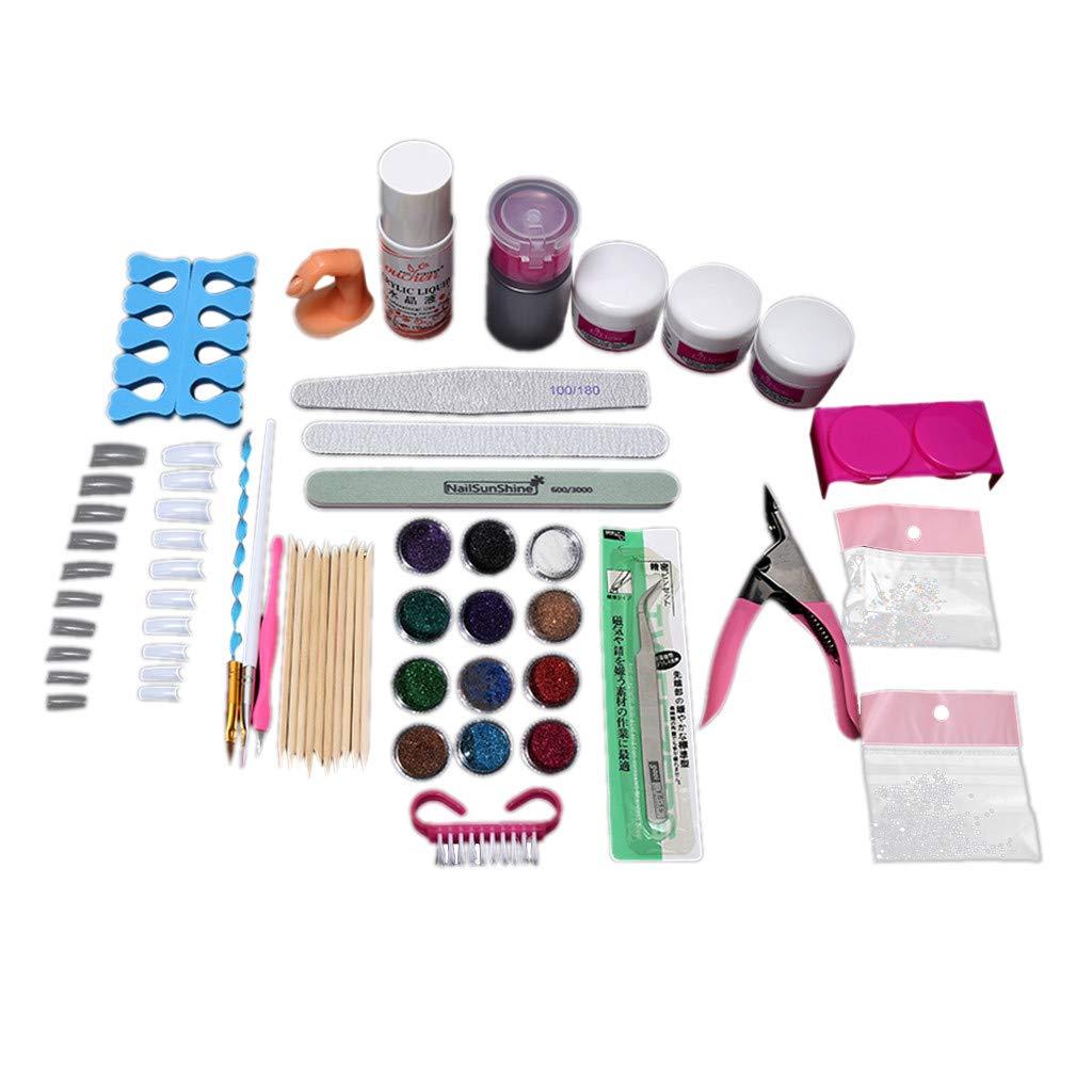 Professional DIY Nail Art Decorations Kit, Acrylic Powder Liquid Brush Glitter Clipper Primer Nail Art Set Tigivemen