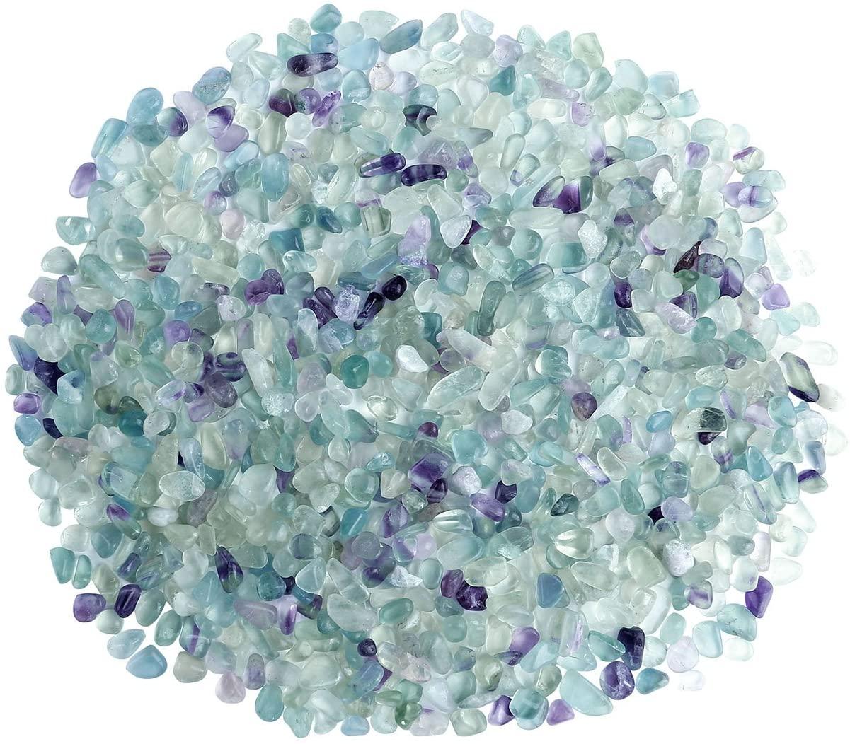 Jovivi 0.9lb Irregular Shaped Natural Fluorite Tumbled Chips Crushed Stone Healing Reiki Crystal Gemstones for Home Indoor Feng Shui Vases Decoration