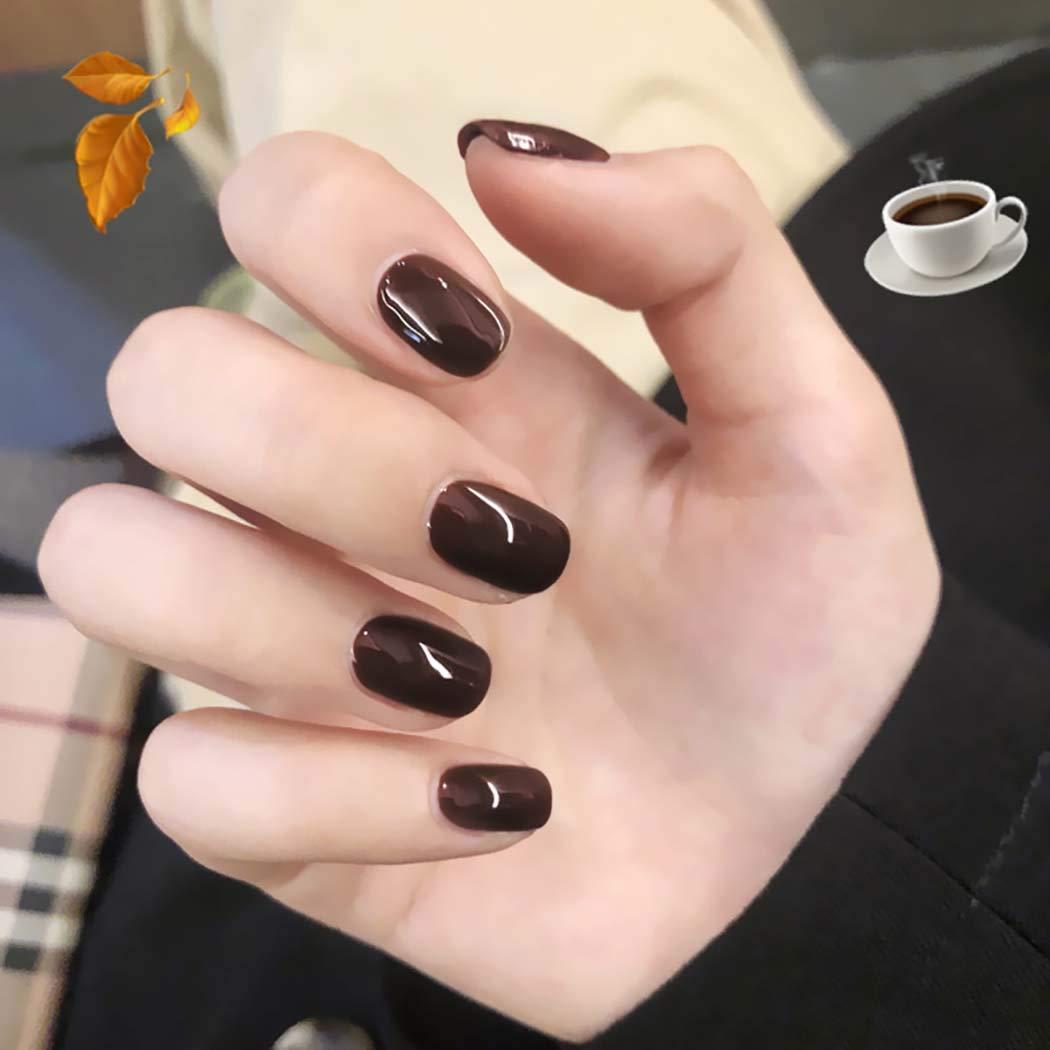 Yizaca Glossy Press on Nails Short Square Fake Nails Full Cover Artificial False Nail for Women and Girls 24PCS (Brown)