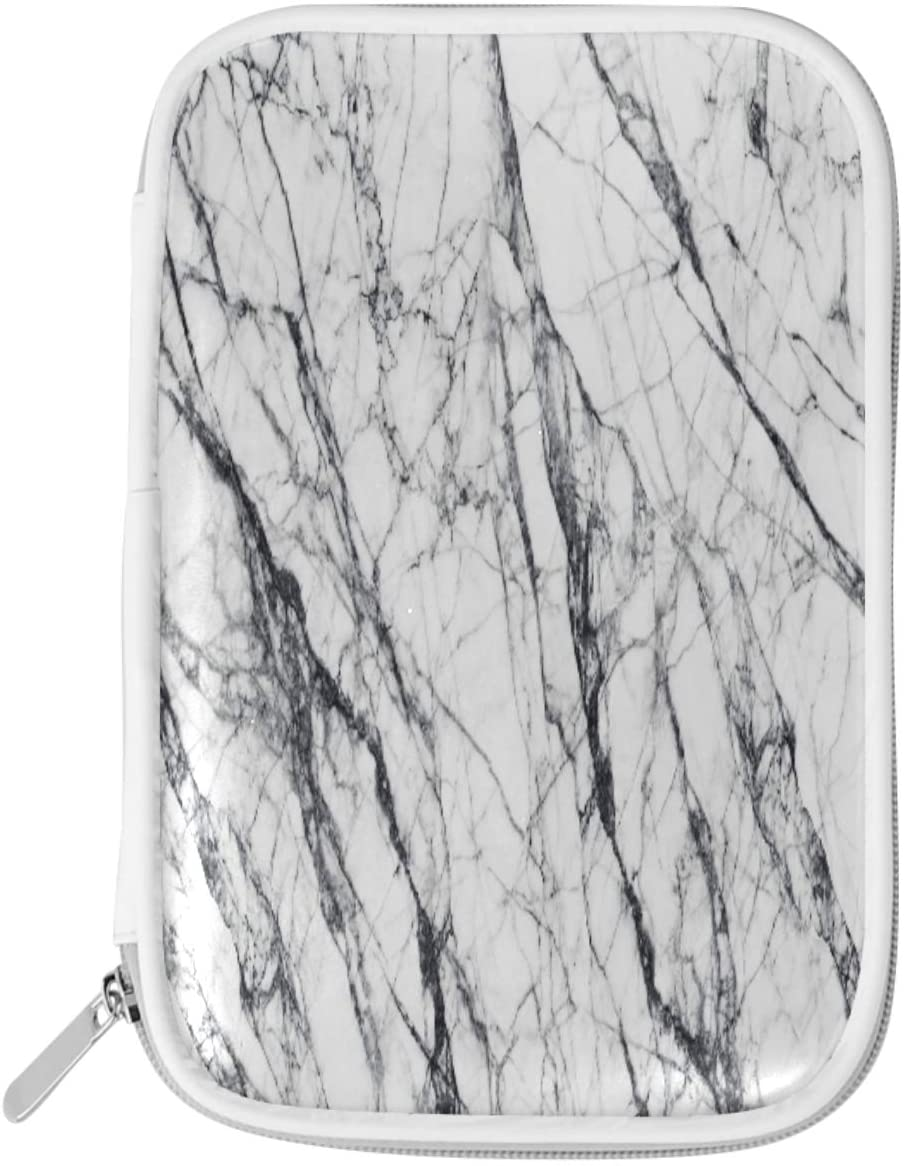 Olinyou Vintage White and Black Marble Art Summer Pen Pencil Case Bags Leather Large Pouch Toiletry Makeup Cosmetic Bag Coin Purse Zipper for Student Boys Girls Adults