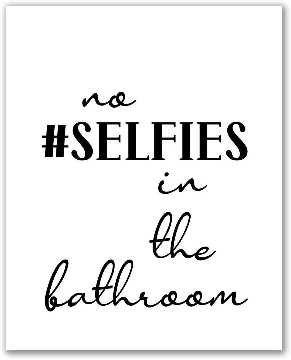 Bathroom Print - Unframed, No Selfies In The Bathroom, Printable Kids Bathroom Signs, Funny Bathroom Quotes, WC Sign, Funny Wall Art, Bathroom Printables Art (No Selfies In The Bathroom, 8