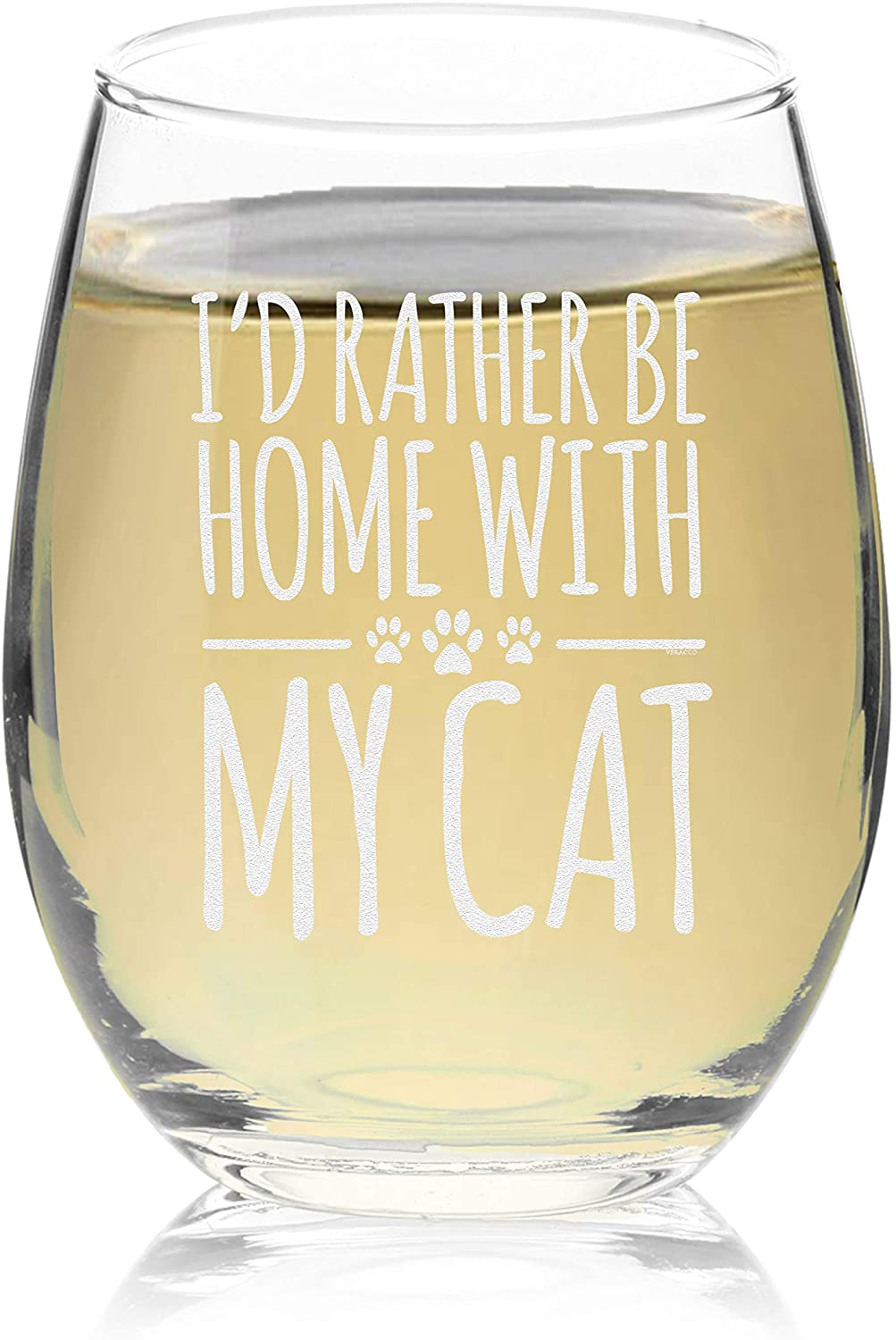 Veracco I'd Rather Be Home With My Cat Stemless Wine Glass Funny Birthday For Cat Mom Crazy Cat Lady Animal Lover Rescue Mom (Clear, Glass)