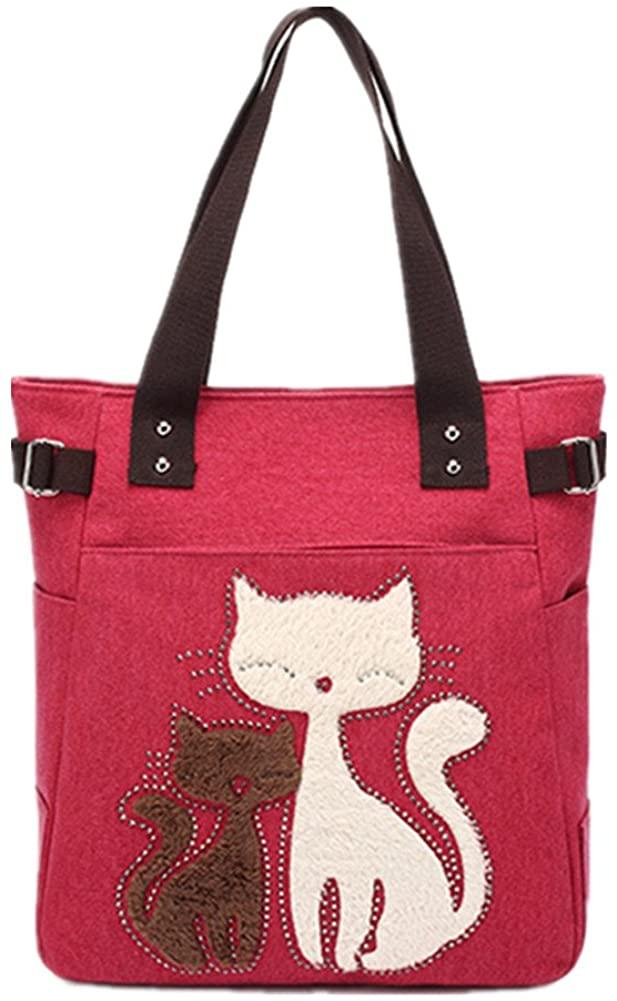 YZSKY Women Canvas Handbag Cartoon Cat Big Tote Bag