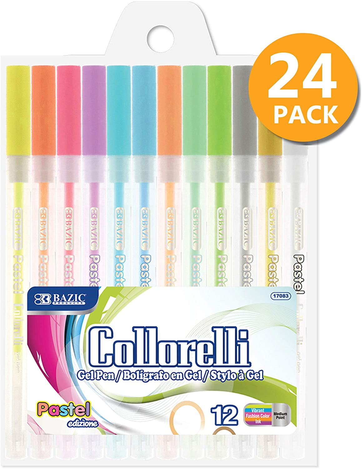 BAZIC 12 Pastel Color Collorelli Gel Pen, Rollerball Point Macarons Neon Colors, Coloring Gift Card Painting Writing Art Drawing, 24-Pack