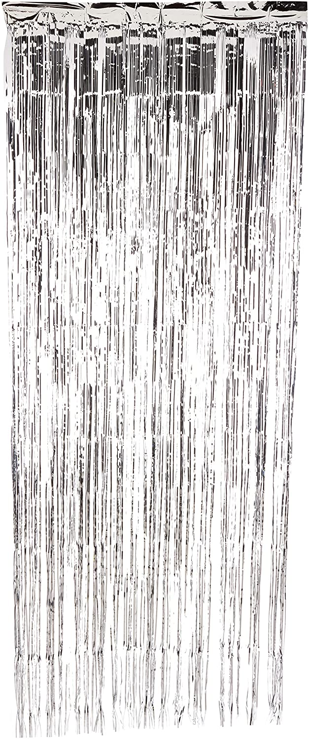Metallic Gold Foil Fringe Shiny Curtains for Party, Prom, Birthday, Event Decorations 3 Foot x 8 Foot (1 Curtain) (Silver)