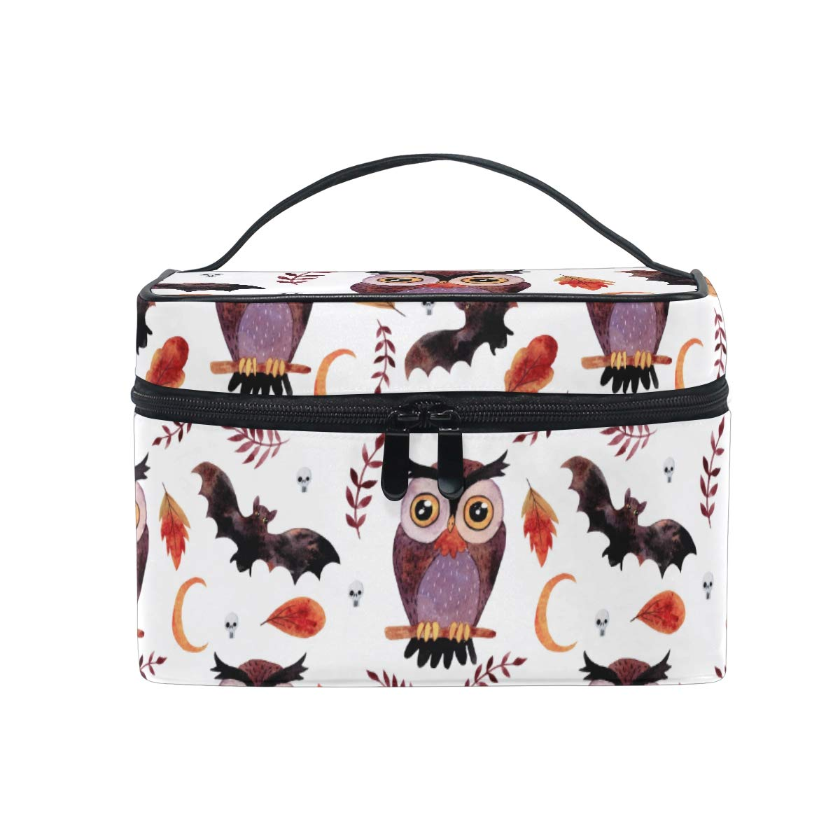 Makeup Bag Fall Watercolor Owl Travel Cosmetic Bags Organizer Train Case Toiletry Make Up Pouch