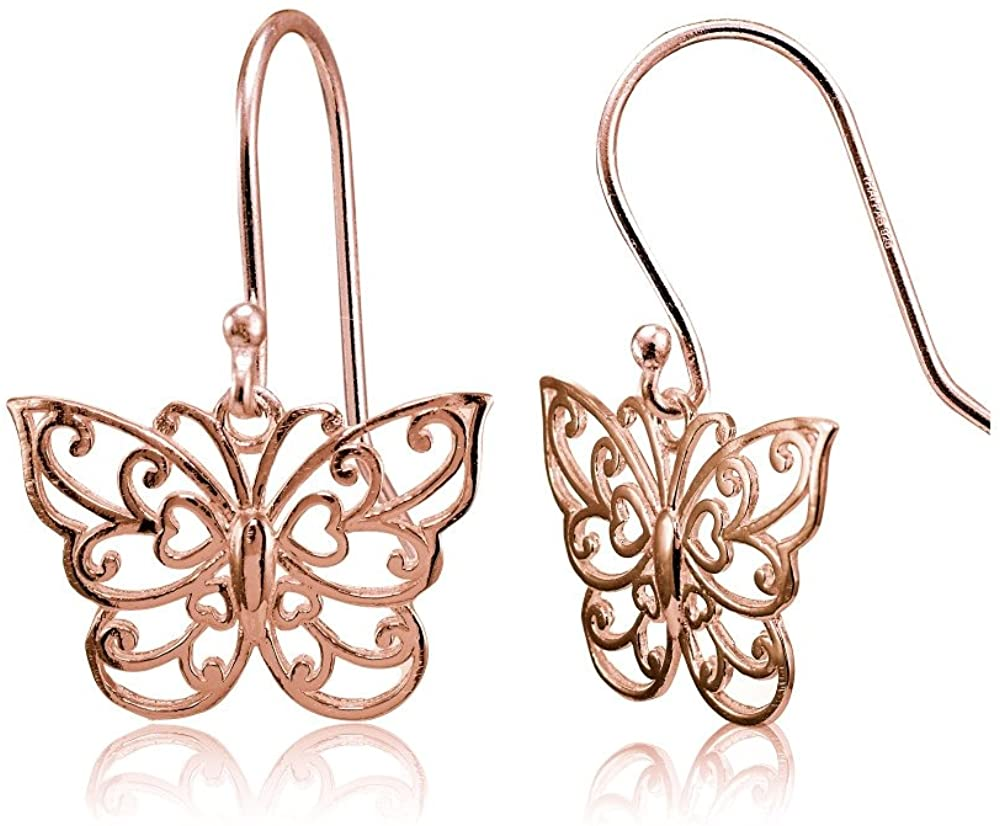 Sterling Silver High Polished Filigree Butterfly Dangle Earrings
