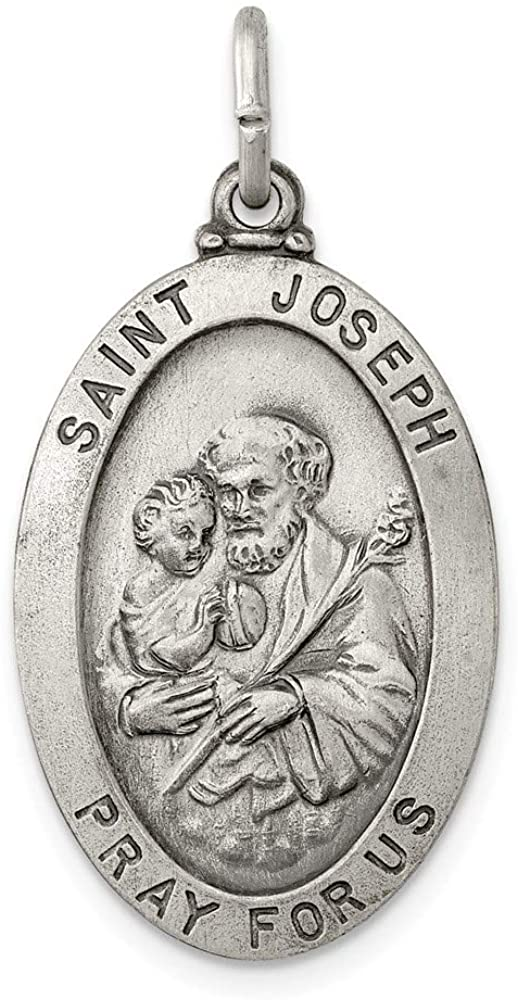 Sterling Silver Antiqued Saint Joseph Medal Charm