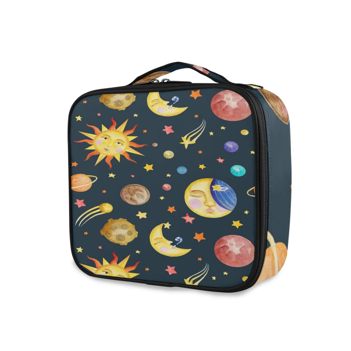 ALAZA Funny Solar System Plants Professional Cosmetic Makeup Bag Organizer Makeup Boxes