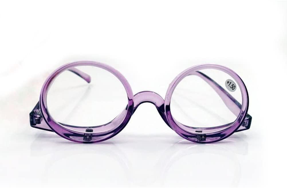 2 in 1 Reading Glasses Makeup Glasses Visually Impaired Reading Glasses Rotatable Eyewear Makeup Glasses (Purple, 1.5)