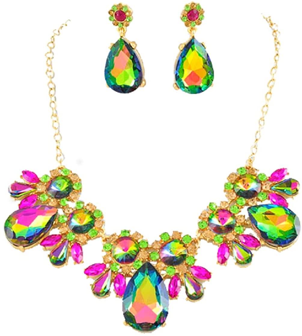 2Chique Boutique Women's Gold Tone Vitrail Glass Necklace Set