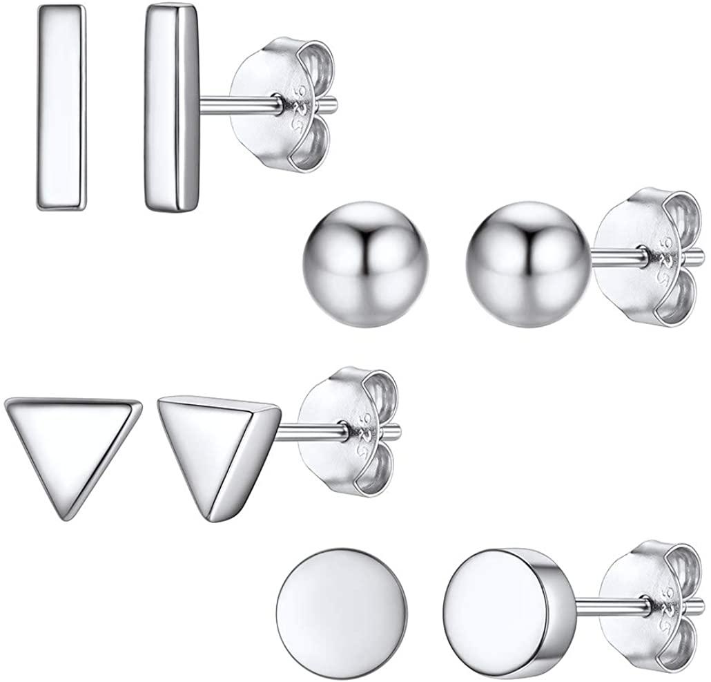 Silvora Sterling Silver Stud Earrings for Women, Minimalist Heart/Star/Moon/Bar/Circle/Ball Thin Earrings Gift, Simple Stud Earring Set for Girls (Send Gift Box)