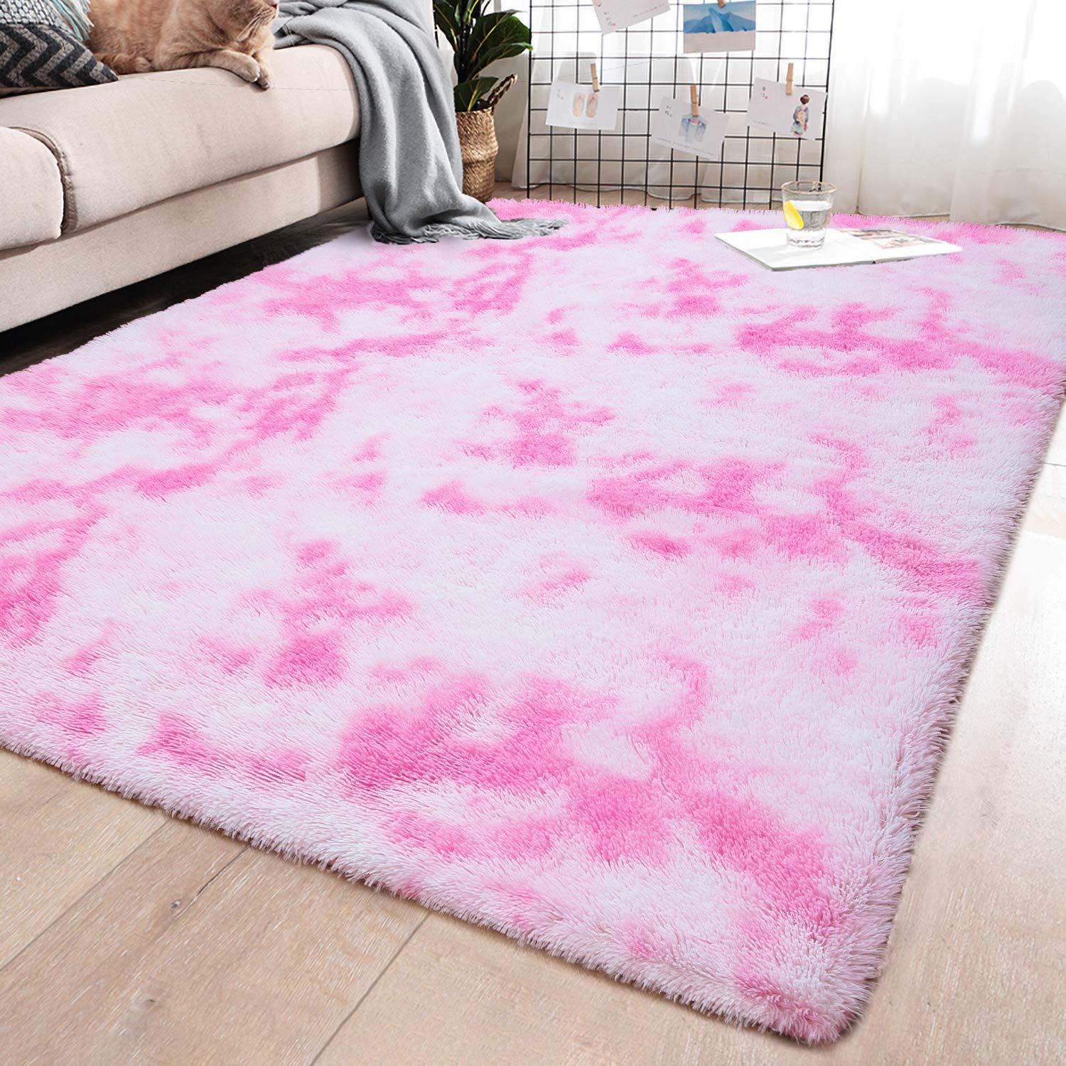 YJ.GWL Soft Indoor Large Modern Area Rugs Shaggy Fluffy Carpets Suitable for Living Room and Bedroom Nursery Rugs Abstract Accent Home Decor Rugs for Girls and Kids 5x8 Feet Pink