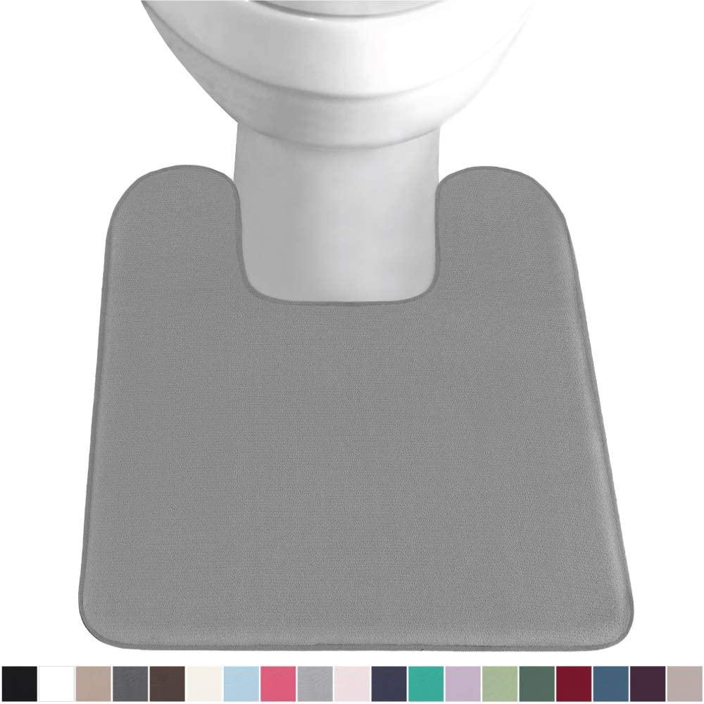Gorilla Grip Original Thick Memory Foam Contour Toilet Bath Rug 22.5x19.5, Square, Cushioned, Soft Floor Mats, Absorbent Cozy Bathroom Mat Rugs, Machine Wash and Dry, Plush Bath Room Carpet, Graphite