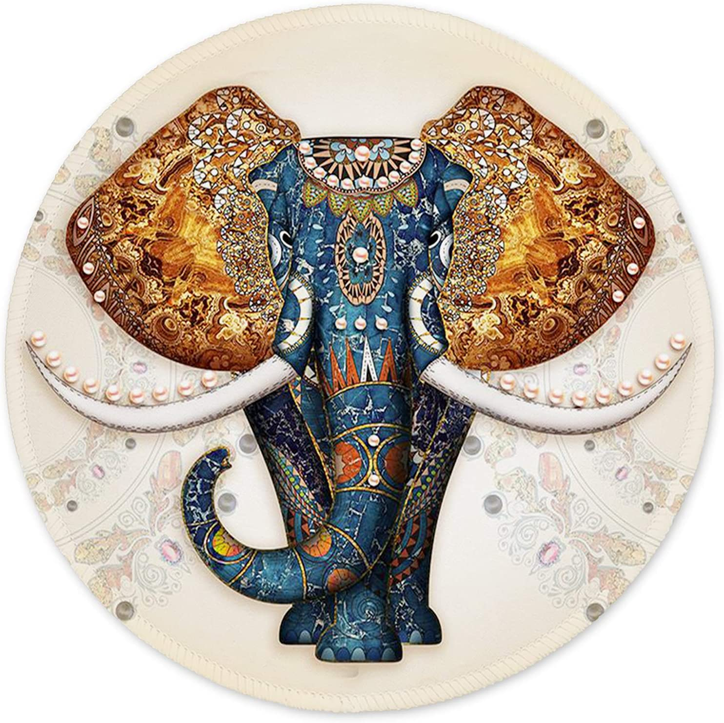 ITNRSIIET Mouse Pad, Cute Elephant Mouse Mat, Small Mouse Pad with Design, Custom Mouse Pad for Girls and Women, Enhanced Thickness, Dual Stitched Edges, Round Mouse Pad for Office Computer Laptops