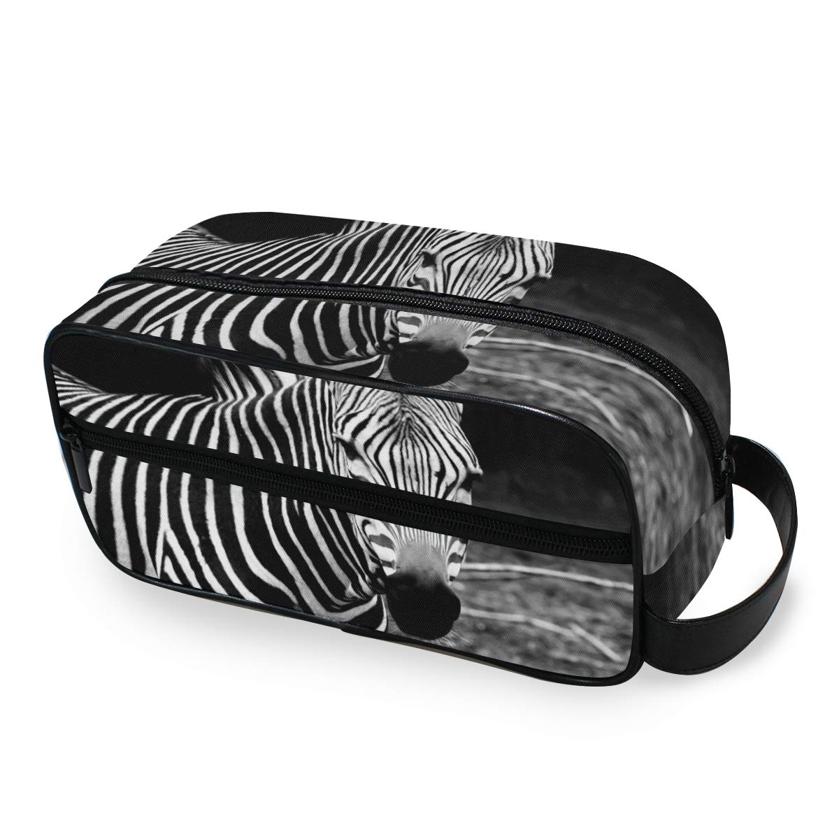 JOYPRINT Portable Travel Makeup Bag, African Animal Zebra Cosmetic Bag Toiletry Bag Pouch with Zipper Multifunction Cosmetic Case for Women Girls