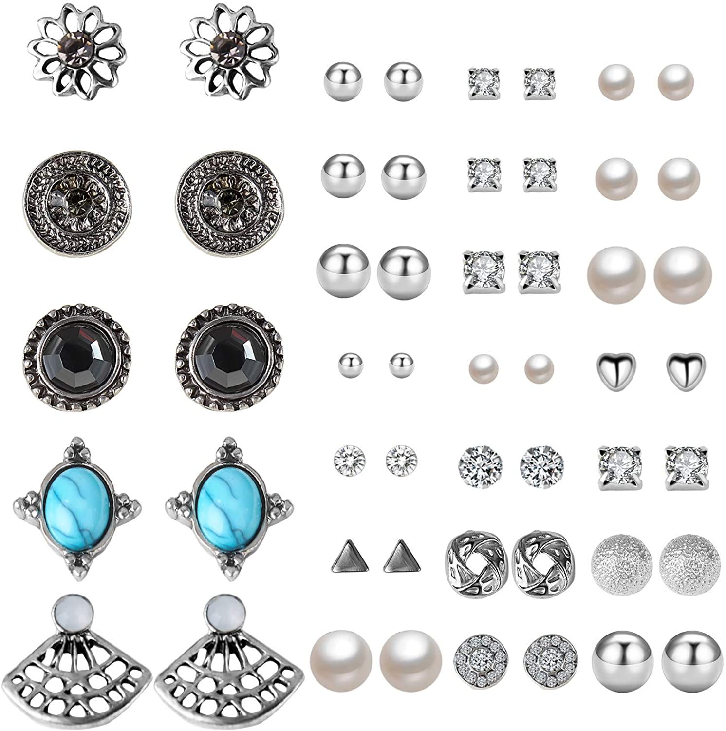 Stud Earrings,Casoty 27 Pairs Mixed Design Modern Style and Bohemia Retro Vintage Style Sets Card Pack for Mother's Day Thanksgiving Day