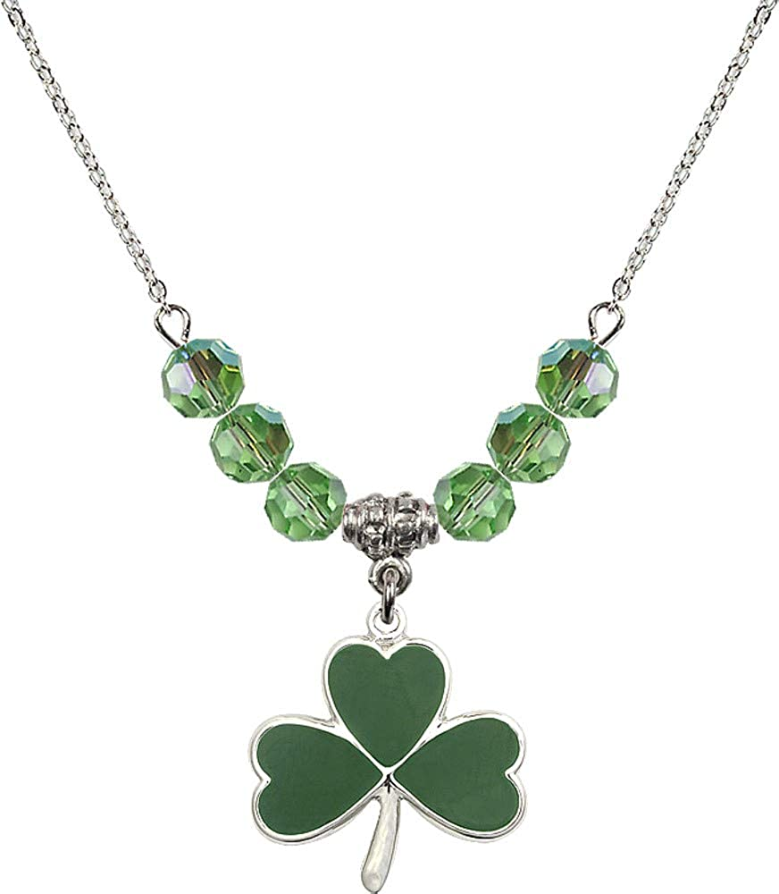 Bonyak Jewelry 18 Inch Rhodium Plated Necklace w/ 6mm Green August Birth Month Stone Beads and Shamrock