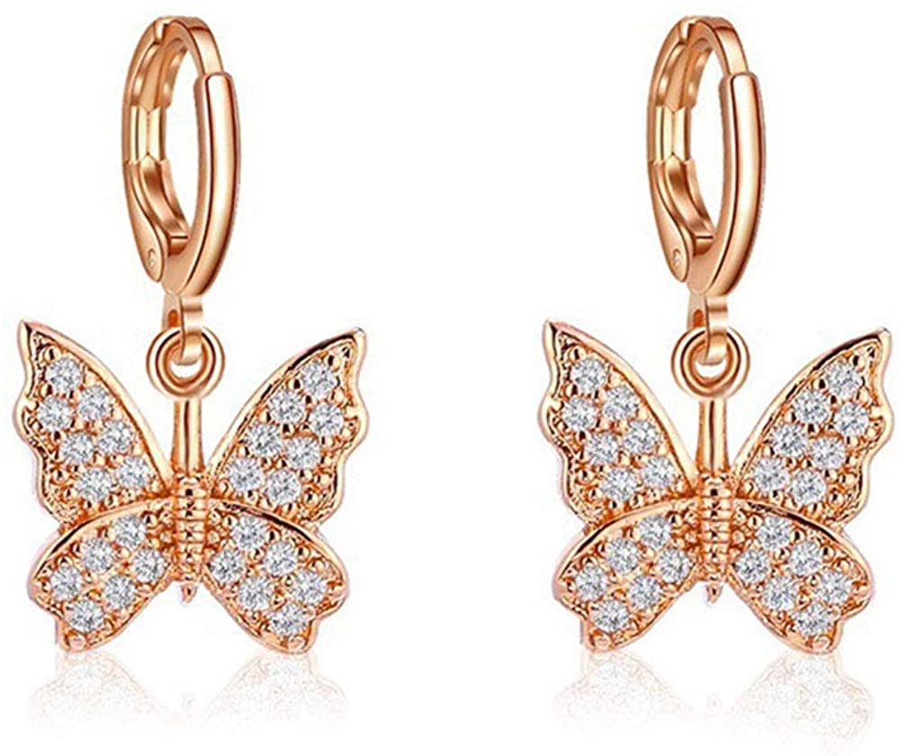 Unijew Zircon Inlay Butterfly Hoop Earrings Elegant Animal Dangle Charm Earrings Butterfly Drop Earrings Ear Buckle for Women Girls