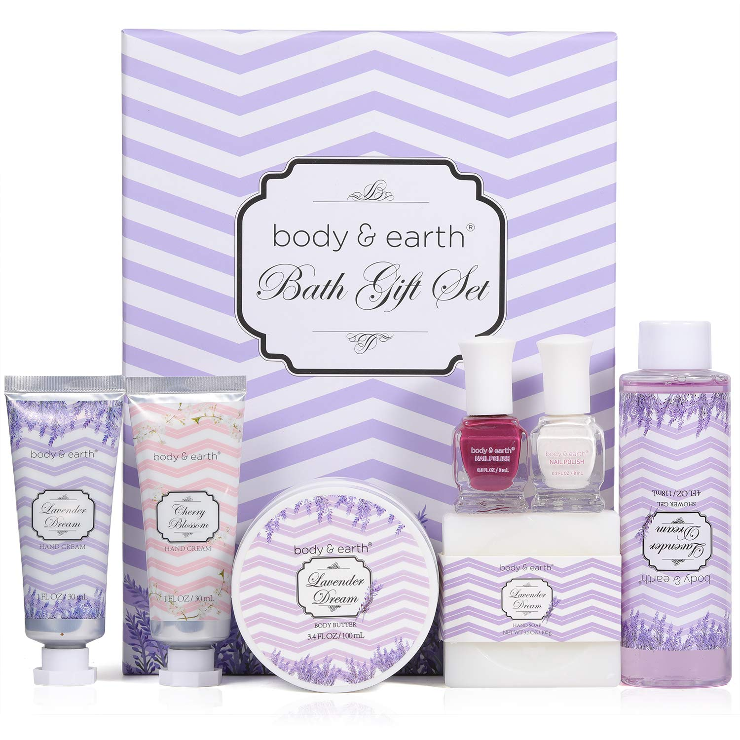 Spa Gift Box for Women,Body & Earth lavender Scented Luxurious 5 Piece Bath Set for Women Gifts Include Shower Gel, Hand Creams, Body Butter and More Gift for women
