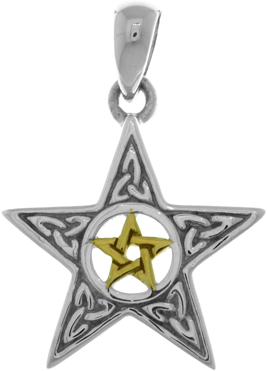 Jewelry Trends Sterling Silver Celtic Trinity Star and 14k Gold-Plated Pentacle Pendant
