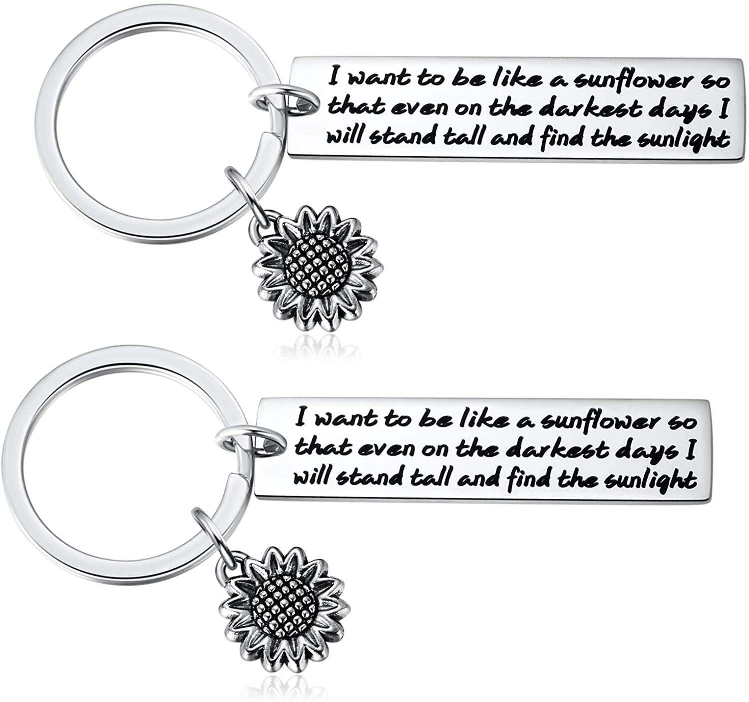 Sunflower Keychain Women Inspirational Gifts - 2PCS I Want to be Like a Sunflower So That Even on The Darkest Days I Will Stand Spiritual Floral Key Chains Girls Women Friends Gifts Jewelry