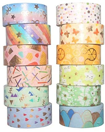 Washi Tape Set Gold Foil Masking Tape Flowers Decorative Pack for DIY Scrapbooking, Crafts, Gift Wrapping, Holiday Decoration 12 Rolls