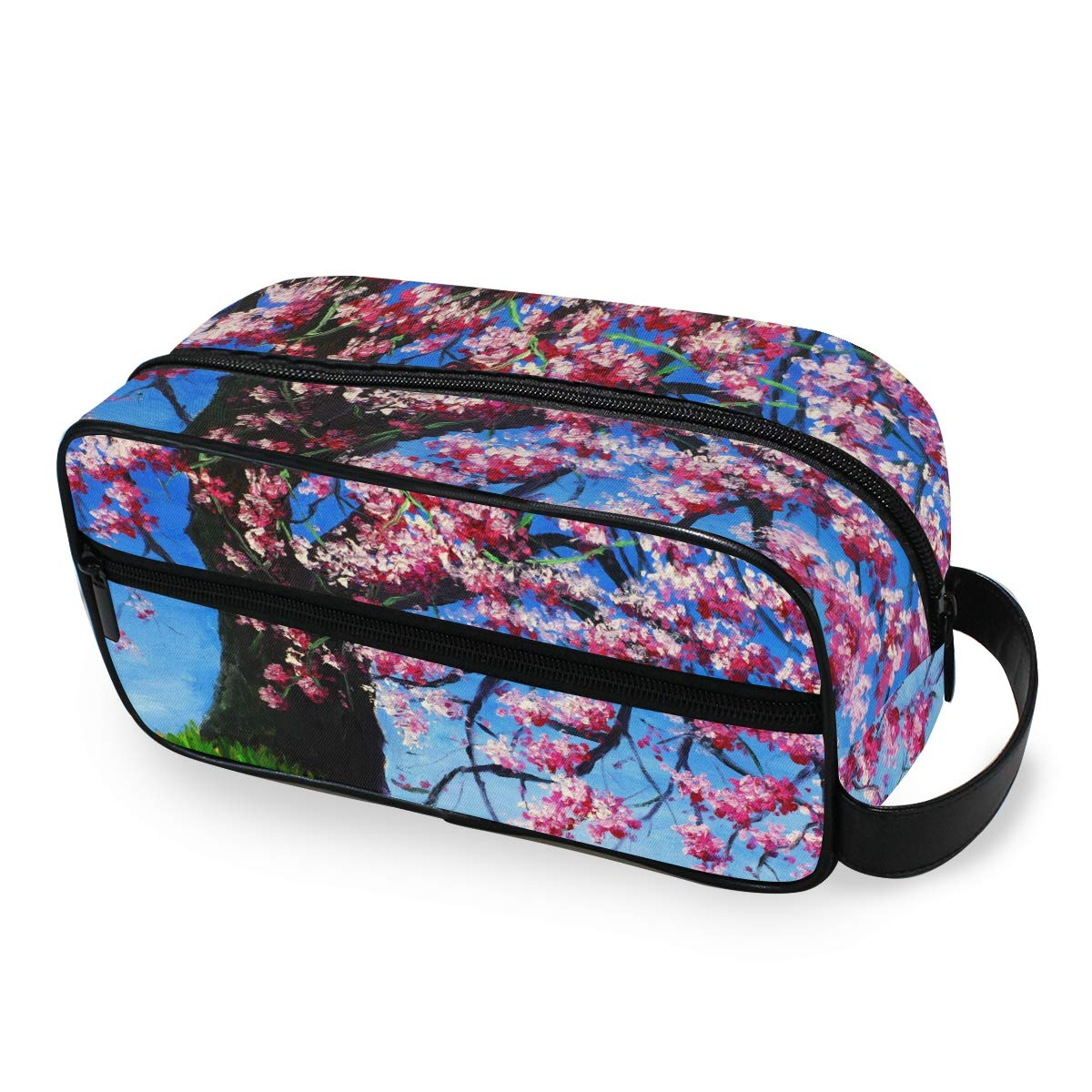 AKIOG Travel Cosmetic Bag Hanging Japanese Cherry Blossom Floral Organizer Makeup Bags Professional Small Toiletry Bags Portable Storage Bag for Kids Women.