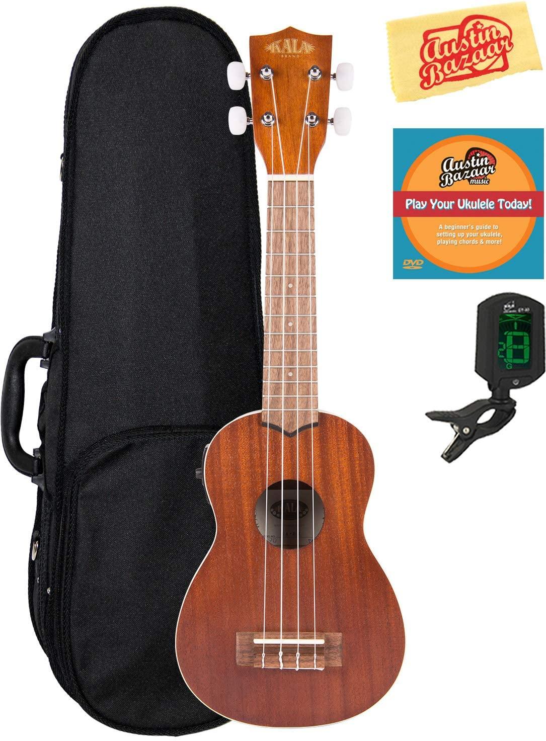 Kala KA-SE Satin Mahogany Soprano Acoustic-Electric Ukulele Bundle with Hard Case, Tuner, Austin Bazaar Instructional DVD, and Polishing Cloth
