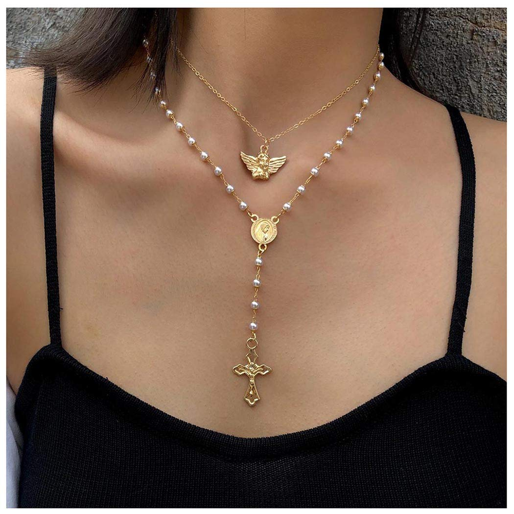 Woeoe Bohe Pearls Layered Rosary Necklace Gold Coin Pendants Cross Religious Necklaces Chain Beach Y Shape Angel Necklace Jewelry for Women and Girls