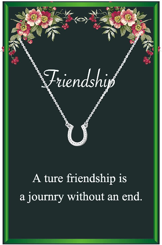Friendship Horseshoe Necklaces for Women,Silver Horseshoe Pendant Necklace Horseback Riding Gift,Bestfriend Gift