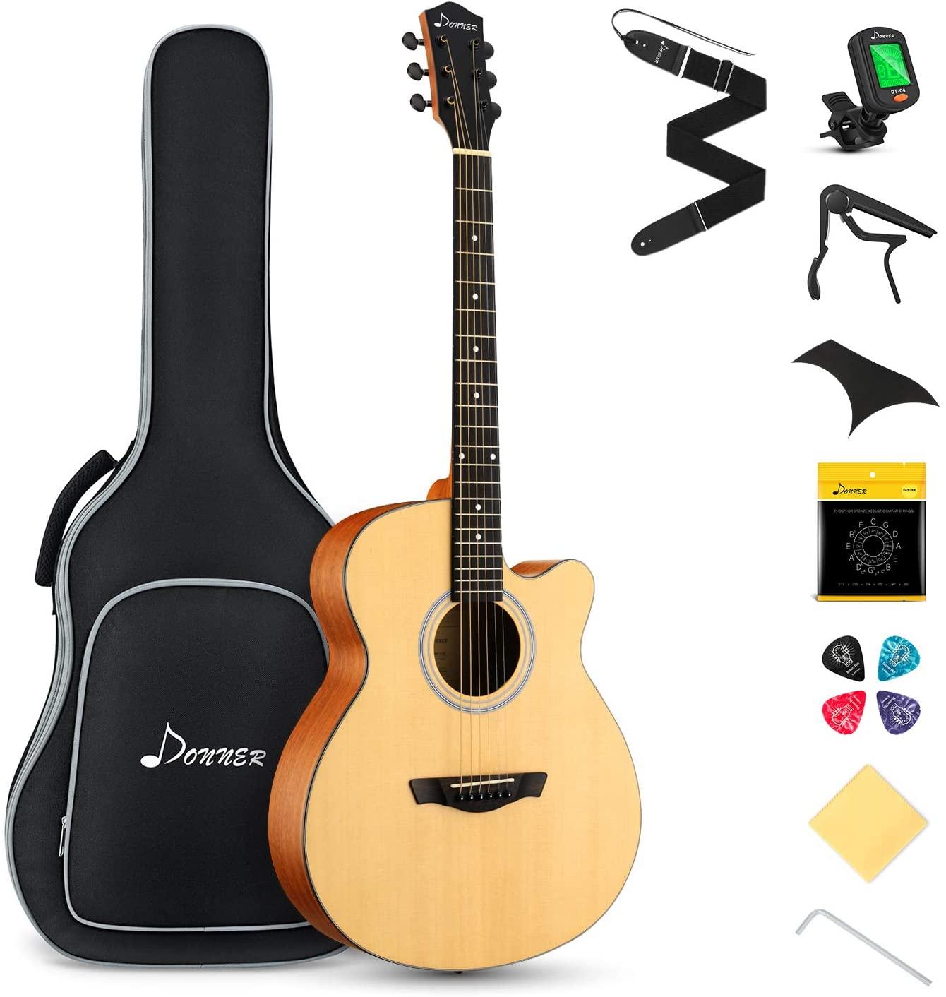 Donner DAJ-110C Mini Jumbo Cutaway Acoustic Guitar Guitar Bundle with Gig Bag Capo Picks Strap String
