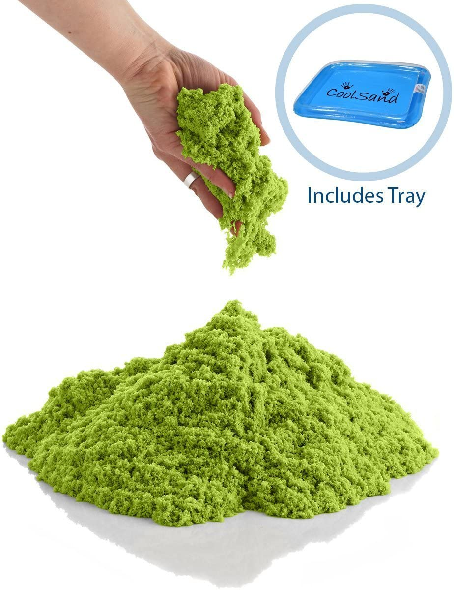 CoolSand Green 5 Pound Refill Pack - Including: 5 Pounds Moldable Indoor Play Sand, Storage Bucket & Inflatable Sandbox